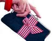 Nautical Navy Clutch,  Red Striped Bow with Wrist Strap - Ready to Ship