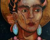 ART PRINT, acrylic mixed media painting of Frida Kahlo, edgy portrait of Frida, spiritual art, wall art, art
