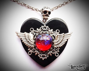 Dragon's Breath Mexican Fire Opal Necklace - Fire Opal Jewelry - Black Heart Necklace - Wing Necklace - Gothic Necklace - Galaxy Necklace