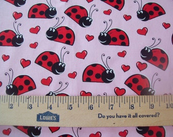 "1 New Valance UNlined 42""x14"" VALENTINE Ladybugs HEARTS Pink RED"