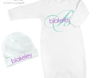 Infant gown and optional matching cap set personalized newborn gown and cap with initial and name  - great shower or new baby gift