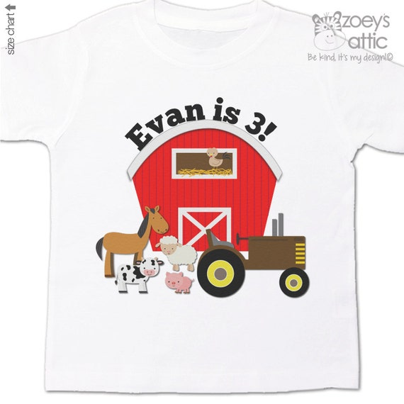 Farm birthday shirt with barn and tractor and animals - oh my - completely personalized birthday Tshirt