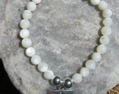 Mother of Pearl Mala Bracelet prayer beads rosary with OM (AUM) charm - 27 beads - white