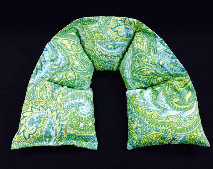 Heated Neck Wrap, Microwavable Heating Pad, Corn Bag Neck Warmer, Fitness Heat Therapy, Ice Pack - Green Blue Paisley