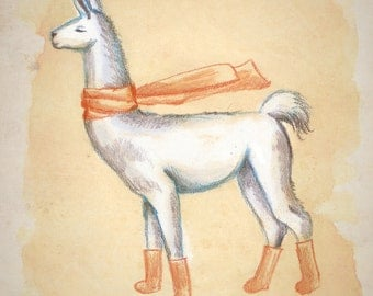 Cozy Llama wearing Orange Socks and Scarf Animal Illustration Art Print