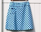 Nautical Navy and Blue Polka Dot sKiRt, A-Line Skirt With a Pocket, Classy Polka Dot, Navy And Blue, Aline skirt, women's 2-24
