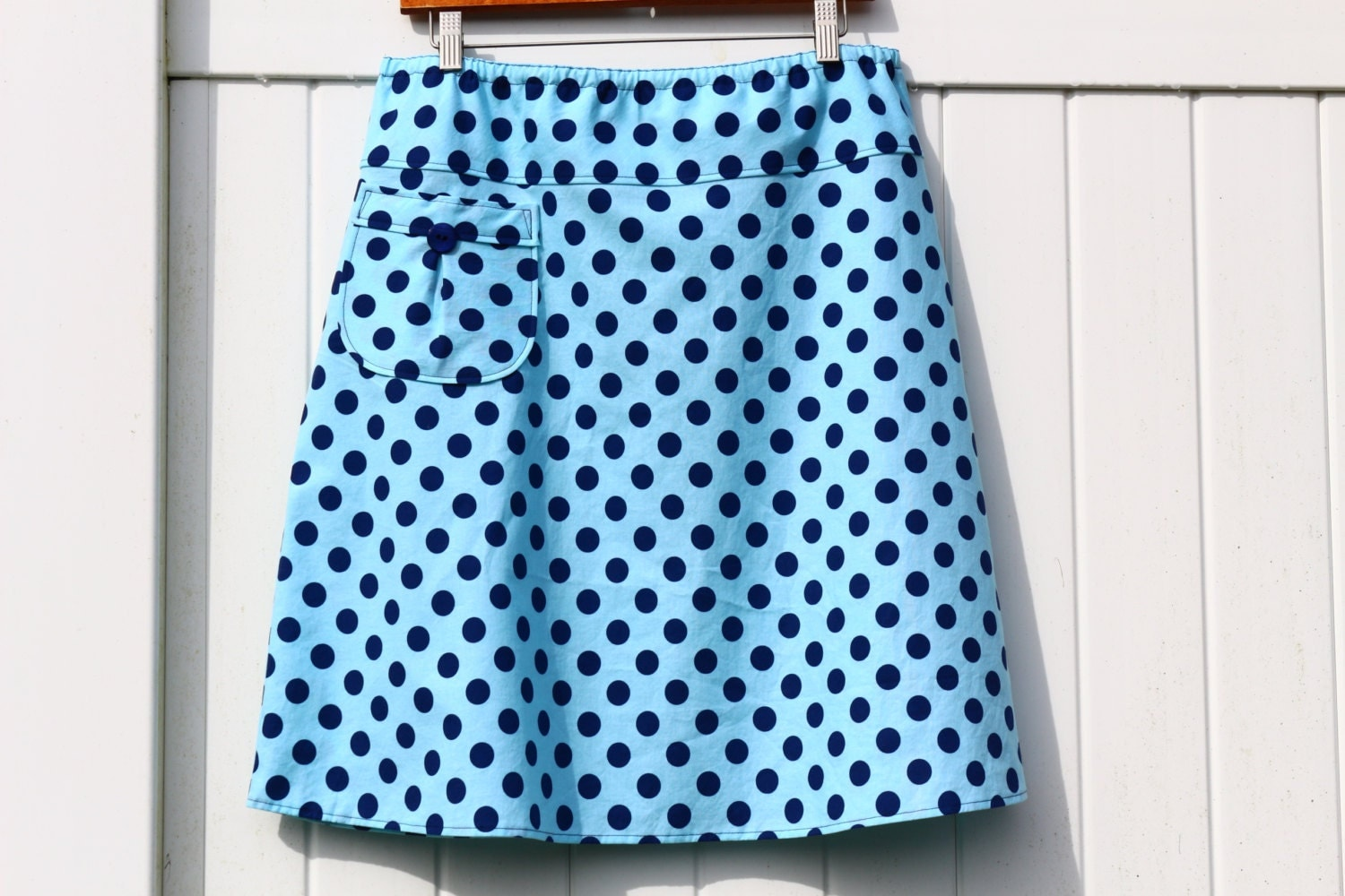 nautical navy and blue polka dot skirt a line skirt with a