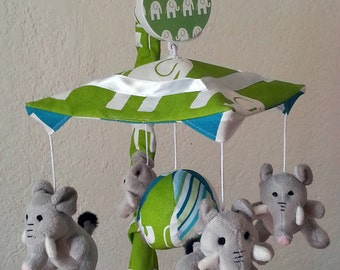 Baby Elephant Walk Crib Mobile (other animals available too) - 4 animals