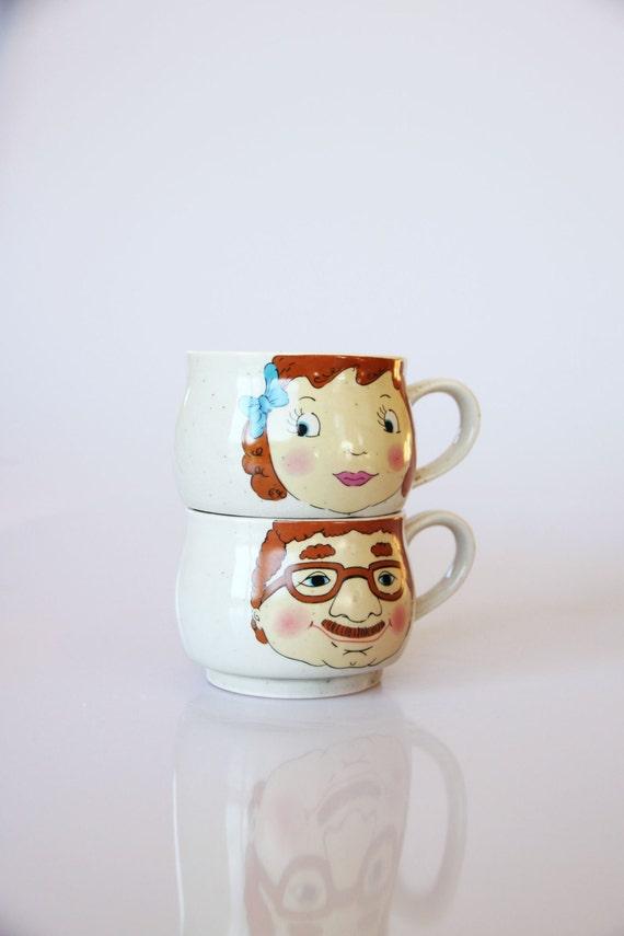 Vintage grandfather granddaughter coffee cups, retro grandfather gift, retro kitchen decor, grandfather mug, family portrait tea cups