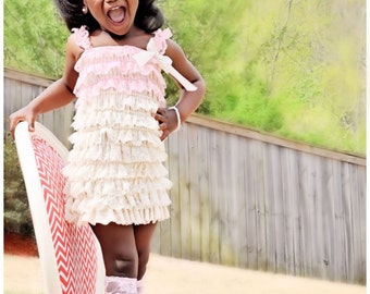 Petti  Lace Romper Dress and Headband  Set  3 colors to choose from Great photo prop, Birthday Dress, Pagent Dress