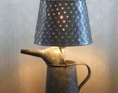 Baby Elephant in the Garden rustic tin table lamp with shade - Free shipping within U.S.