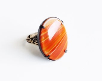 Dark Orange Ring Vintage Glass Banded Agate Cabochon Adjustable Antiqued Brass Victorian