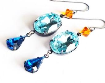 Aqua Rhinestone Earrings Vintage Turquoise Blue Glass Crystal Aqua Orange Jewelry