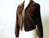 Velvet Jacket - S - Women's Vintage Cropped Brown Coat