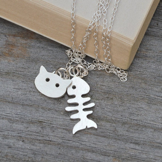 fishbone and cat necklace in sterling silver, handmade in England