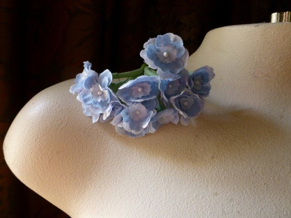SALE  Primroses in French Powder Blue for Bridal, Boutonnieres, Garters, Headbands, Floral Supply MF 230