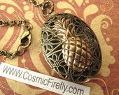 Brass Pineapple Locket Necklace Vintage Inspired Filigree Antiqued Brass Oval Locket Steampunk Necklace Tiki Jewelry Tiki Necklace