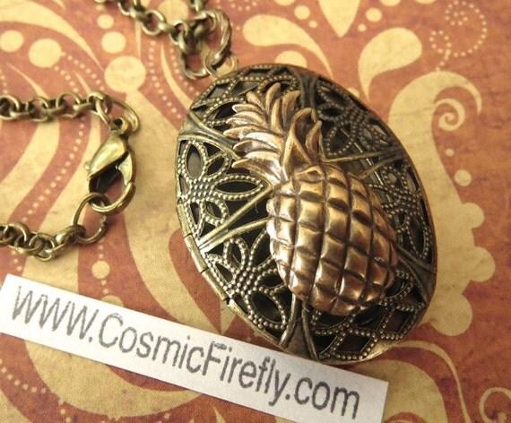 Brass Pineapple Locket Necklace Vintage Inspired Filigree Antiqued Brass Oval Locket Steampunk Necklace Tiki Jewelry Tiki Necklace