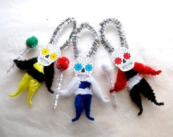Chenille Ornaments Day of the Dead, DOD, Yellow Red Black White, Set of 3 (146)