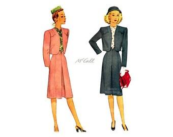 1940s Womens Suit Pattern McCall 6019, Front Pleat Skirt, Bolero Jacket Vintage Sewing Pattern, Uncut