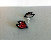 Earrings - Tiny Red Fox - Beadwork on .925 Sterling Silver Posts