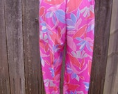 Malia Casual Tropical Hot Pink Abstract Floral Pants, Spring, Summer, 90s, Made in USA Size 8