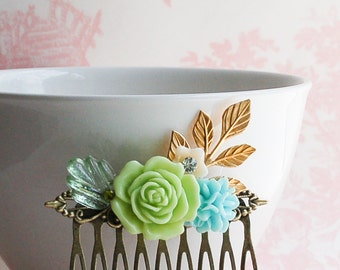 Rose FLOWER Hair Comb Aqua Bridal Spring Wedding Bridesmaid Flower Girl
