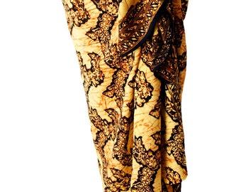 Batik Tribal Sarong Batik Pareo Sarong Men or Womens Fall Clothing Beach Cover Up Brown & Black Beach Sarong Hawaiian Sarong - Surf Clothes