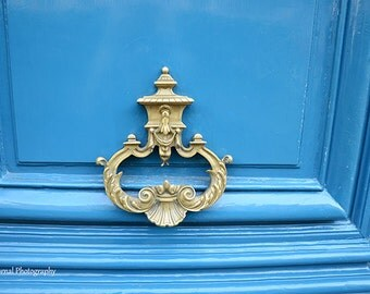 Paris Photography, Blue Paris Door Knocker, Beautiful Paris Royal Blue Door Wall Art, Parisian Door Knocker, Paris Architecture Blue Door