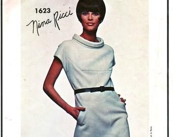 UNCUT  Vogue Paris Original Pattern 1623 - with Vogue Label - Nina Ricci Designer 1960's Beautiful Dress - Size 12, Bust 32