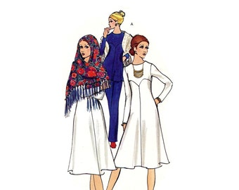 1970s Fit and Flare Dress Pattern or Top and Pants Shawl Chevron Yoke Long Sleeves Womens Pants Vogue 8015 Bust 34 Vintage Sewing Pattern