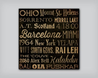 ANY COLOR Personalized - CUSTOM - Ready to Hang  - Stretched Canvas Wall Art Bus Scroll Sign Poster Quote Subway