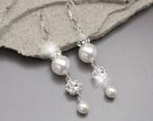 Pearl Bridal Earrings, Rhinestone and Swarovski Pearl Dangle Earrings, Vintage Style Wedding Jewelry, Ivory or White Pearl Drop Earrings