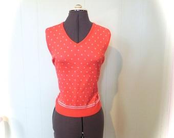 Vintage 60s Red Orange Dot Sweater Top Vest Tank M L XL Plus - on sale