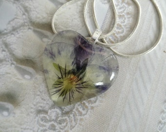 Deep Purple,Lavender Ombre Pansy Pressed Flower Glass Heart Pendant-Nature's Wearable Art-Gifts Under 30-Symbolizes Loyalty