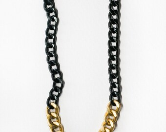 Two Tone Chain Necklace-Black