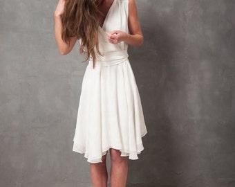 Short wedding dress, wrap wedding dress, white silk wedding dress, white wedding dress, circular skirt wedding dress