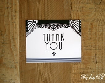 100 Great Gatsby Thank You Note Cards Art Nouveau Art Deco Thank You Card - The Jacqueline Collection - By My Lady Dye