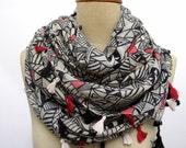 Tassel Scarf ,Geometric pattern Big Shawl , scarf ,  holiday, Boho , Black & Cream Summer Scarves