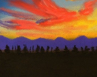 Fire in the sky - Original Pastel Painting by Jamies Art 8x10