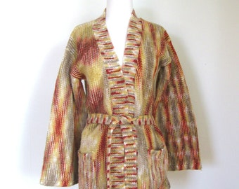 Vintage 70s Boho Hippie wrap sweater / space dyed knit cardigan sweater / wide bell sleeves cardigan