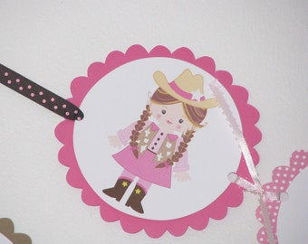 Pink Cowgirl Happy Birthday Banner -Customizeable