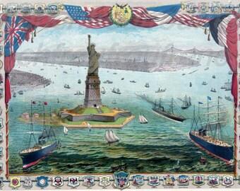 antique victorian statue of liberty illustration new york city digital download