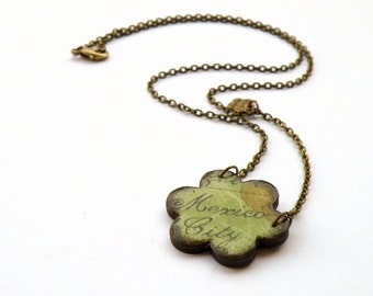 Little flower pendant with decoupage of Mexico City map on bronze chain