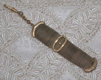 Antique Watch Chain Mesh Buckle Gold Plated