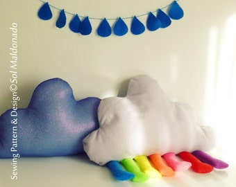 Cloud Rainbow toy or pillow - sewing pattern PDF - children room, home decor - Instant DOWNLOAD