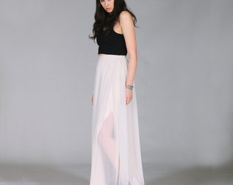 Minimalist maxi skirt with side slits simple fashion minimal clothing L