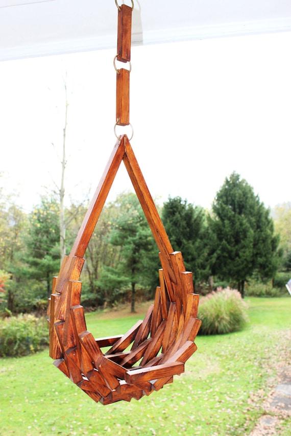 Vintage mid century wooden hanging basket blocks geometric plant