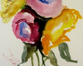 From the Garden Floral watercolor 12x9  Art by Delilah