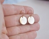 Gold Disc Earrings - gold filled smooth large circle round dot drop dangle metal handmade gift for her - simple wedding or everyday jewelry